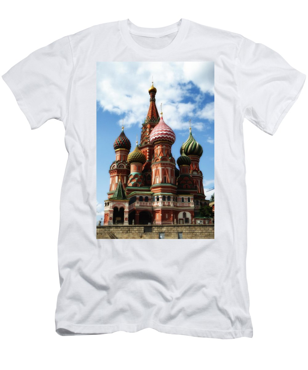 St. Basil's Cathedral Men's T-Shirt (Athletic Fit) featuring the photograph St. Basil's Cathedral by Linda Dunn