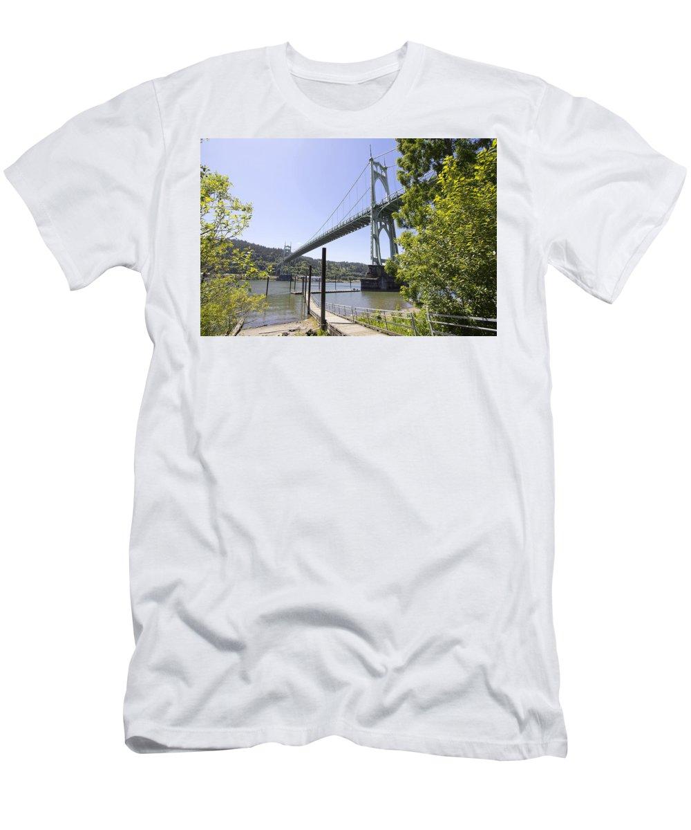 Saint Men's T-Shirt (Athletic Fit) featuring the photograph St Johns Bridge Over Willamette River by Jit Lim
