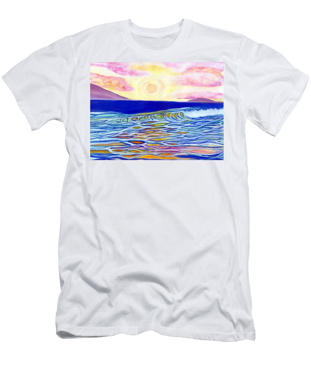 Men's T-Shirt (Athletic Fit) featuring the painting Stained Glass Sunset by Suzanne MacAdam