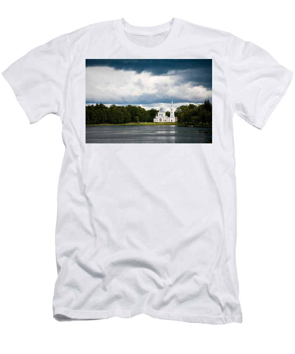 Lampedusa Men's T-Shirt (Athletic Fit) featuring the photograph Stameriena Orthodox Church by Olivier De Rycke