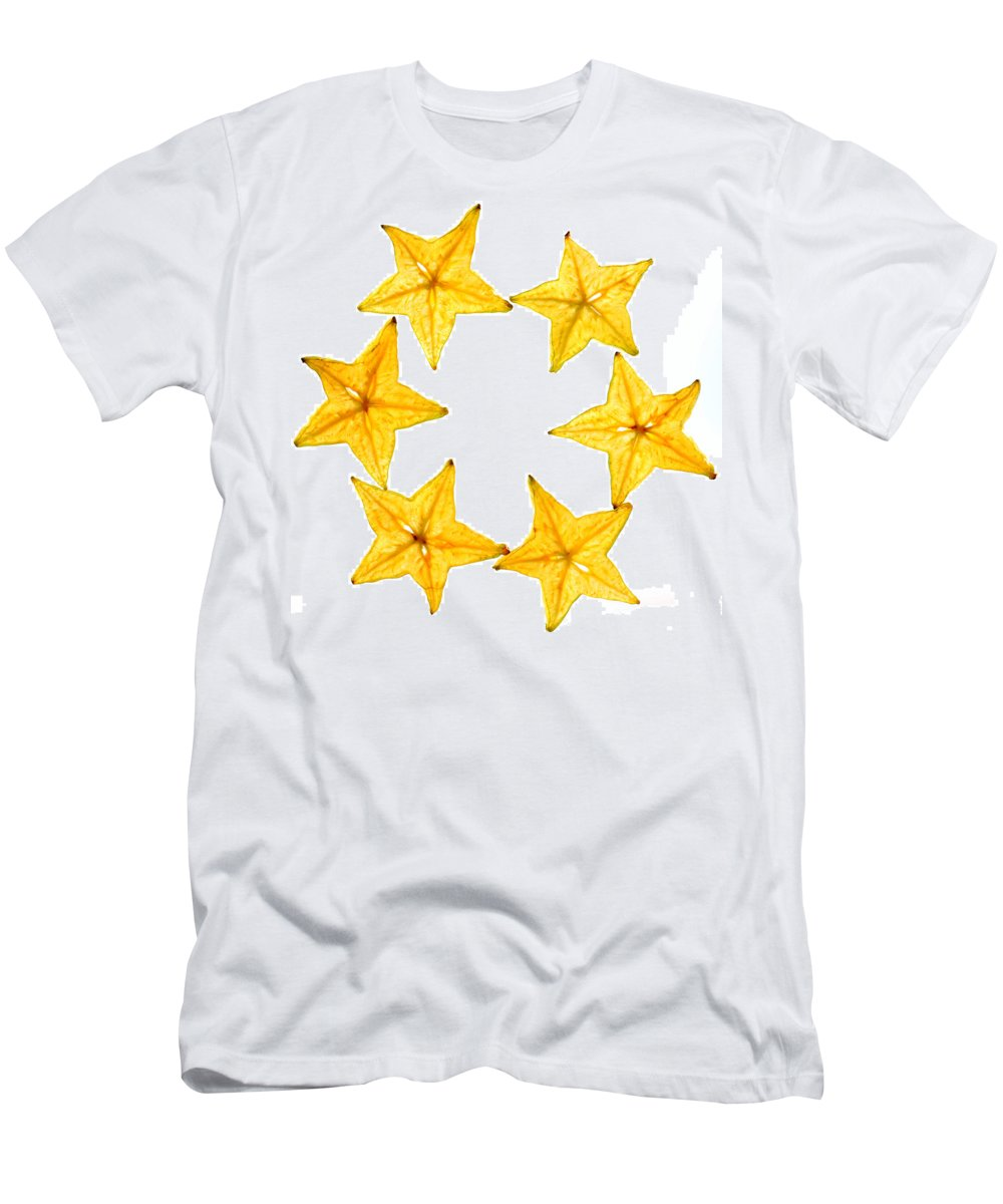 Carambola Men's T-Shirt (Athletic Fit) featuring the photograph Star Fruit Slice by Paul Ge