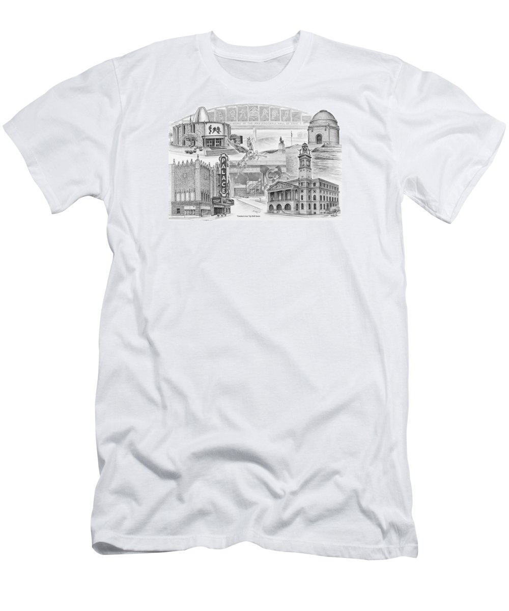Canton Men's T-Shirt (Athletic Fit) featuring the drawing Stark County Ohio Print - Canton Lives by Kelli Swan