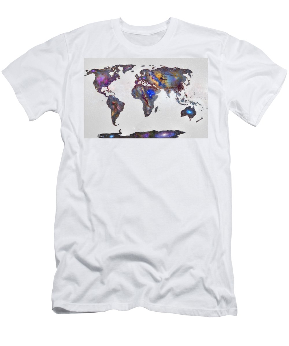 Map Men's T-Shirt (Athletic Fit) featuring the photograph Stars World Map by Guido Montanes Castillo