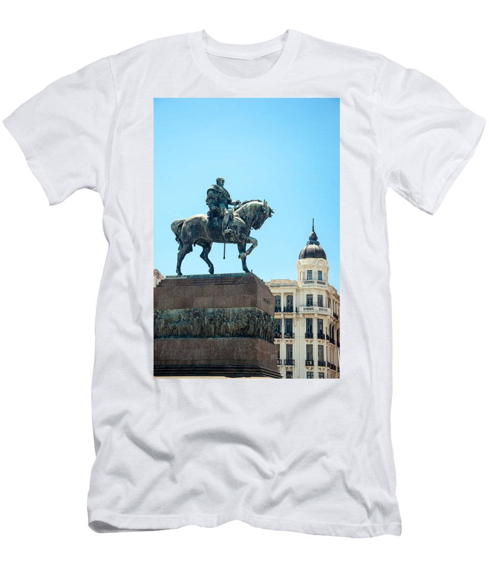 Montevideo Men's T-Shirt (Athletic Fit) featuring the photograph Statue In Montevideo Uruguay by Jess Kraft