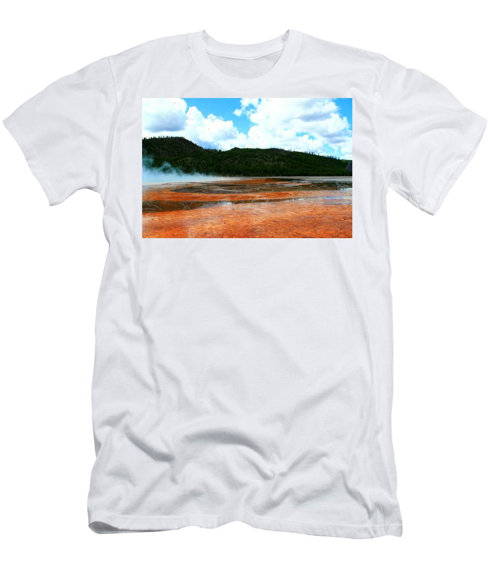Yellowstone National Park Men's T-Shirt (Athletic Fit) featuring the photograph Steam And Trees by Catie Canetti