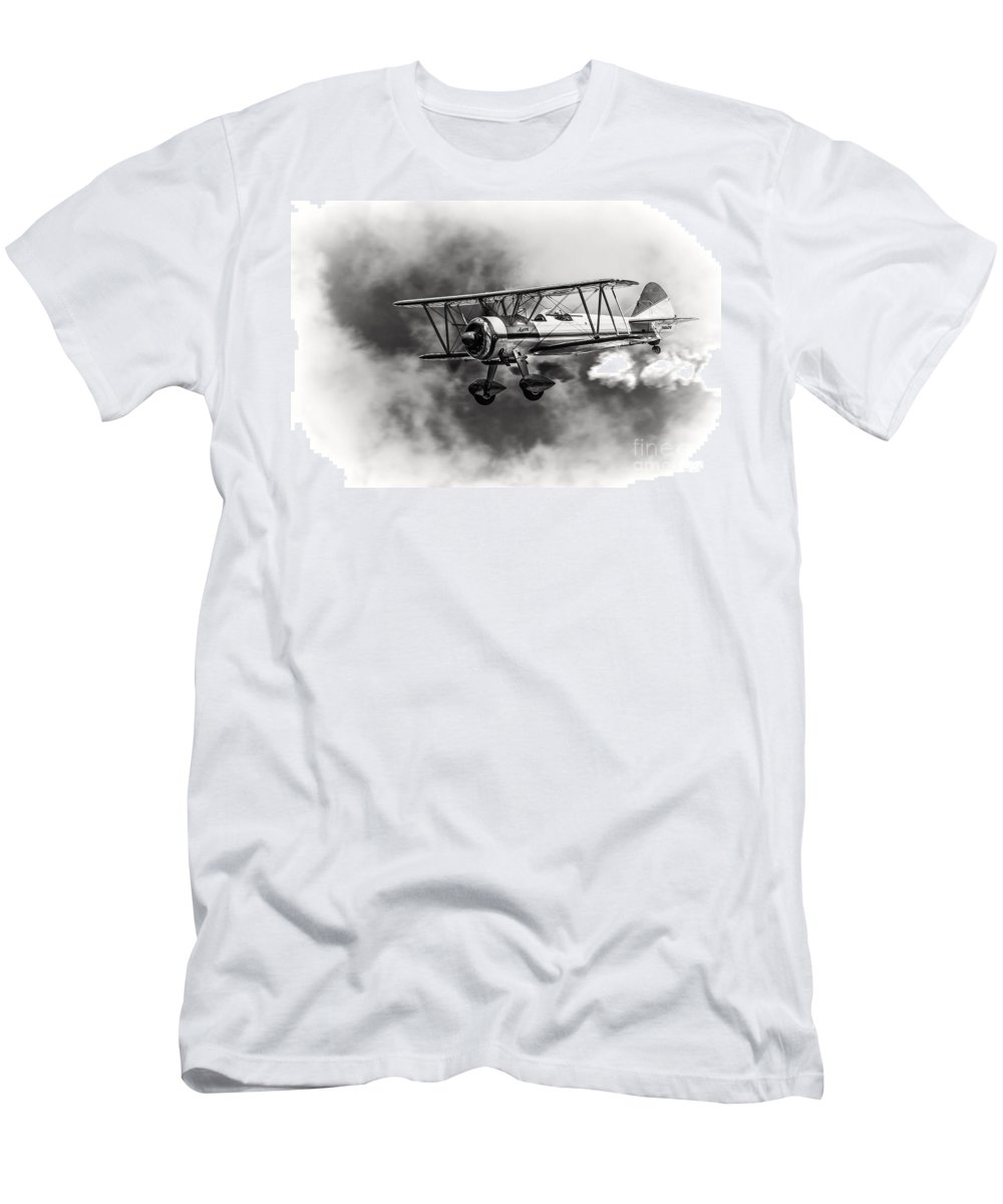 450 Hp Stearman Men's T-Shirt (Athletic Fit) featuring the photograph Stearman Biplane Black And White by Jerry Fornarotto
