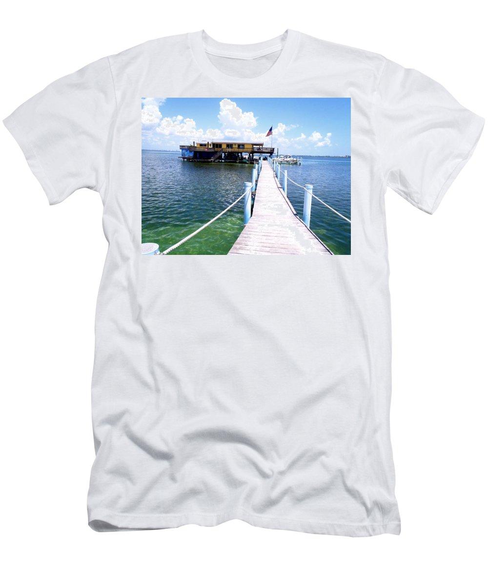 Stiltsville Men's T-Shirt (Athletic Fit) featuring the photograph Stiltsville Dock by Carey Chen