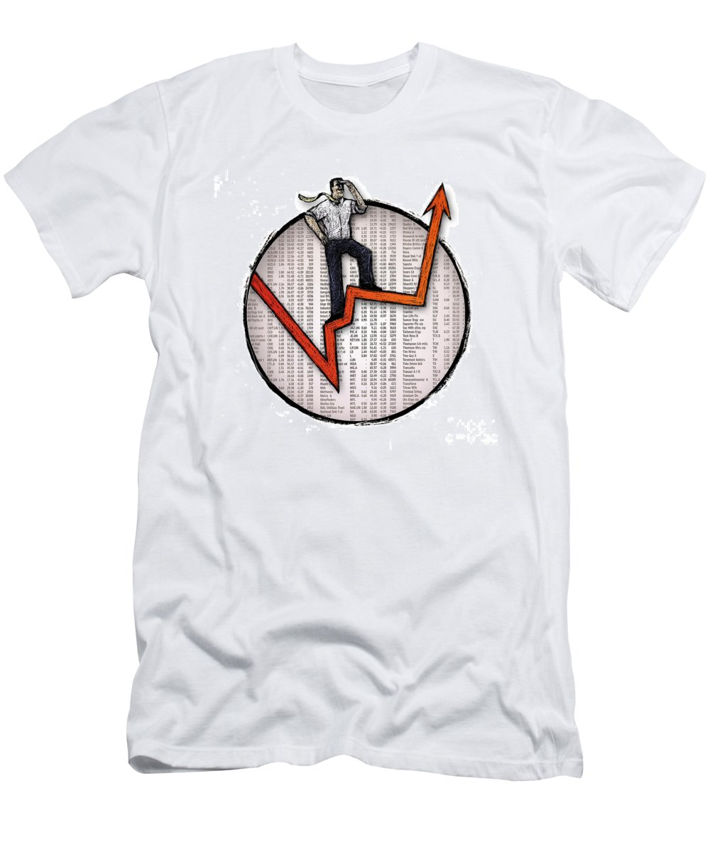 Stockmarket Men's T-Shirt (Athletic Fit) featuring the drawing Stock Market by Chris Van Es