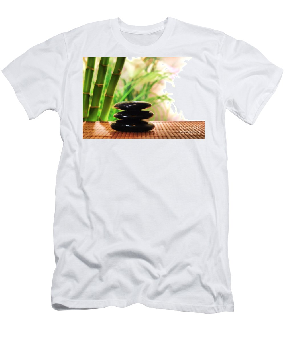 Spa Men's T-Shirt (Athletic Fit) featuring the photograph Stone Cairn by Olivier Le Queinec