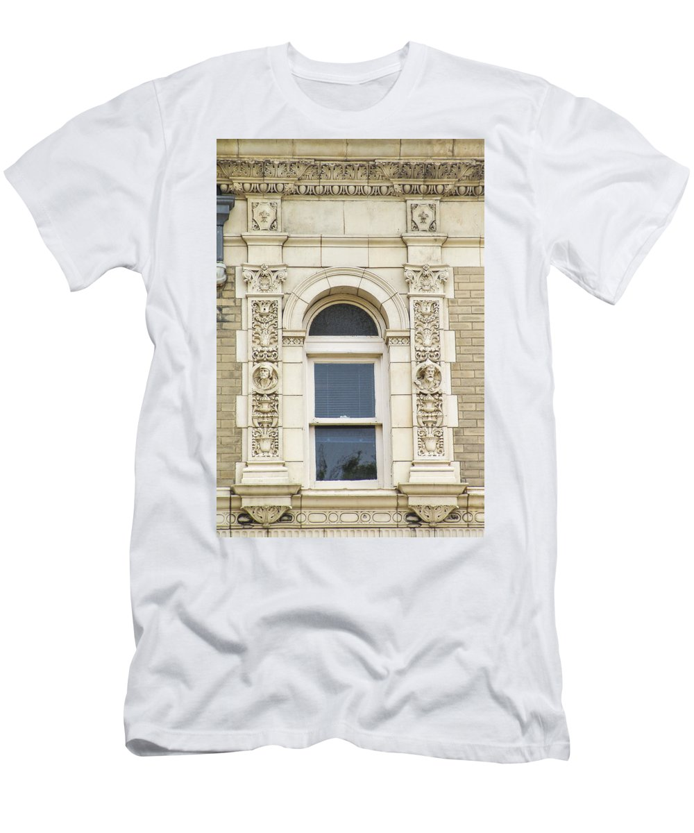 Marble And Brick Men's T-Shirt (Athletic Fit) featuring the photograph Stone Window by Eric Swan