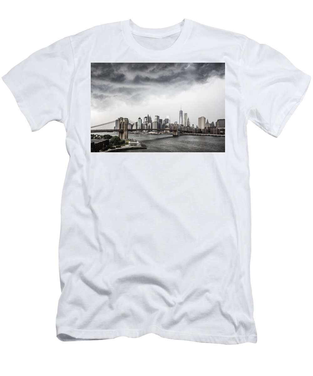 Manhattan Men's T-Shirt (Athletic Fit) featuring the photograph Storm Over Manhattan by Alex Potemkin