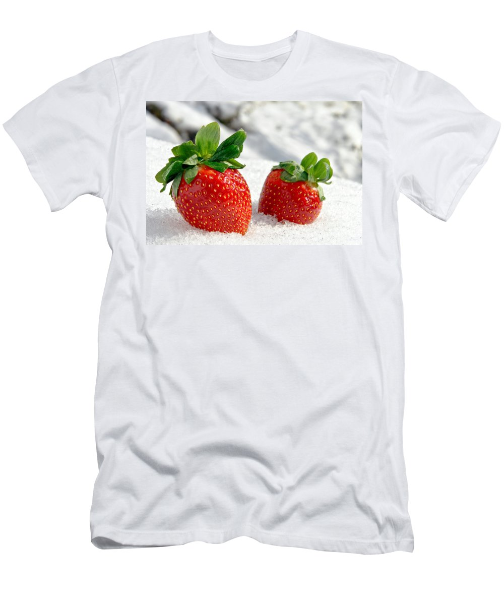 Strawberries Men's T-Shirt (Athletic Fit) featuring the photograph Strawberries On Ice by Olivier Le Queinec