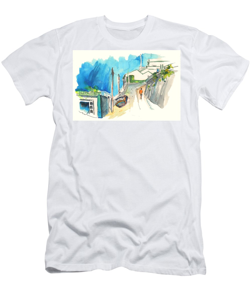 Portugal Art Men's T-Shirt (Athletic Fit) featuring the painting Street In Ericeira In Portugal by Miki De Goodaboom