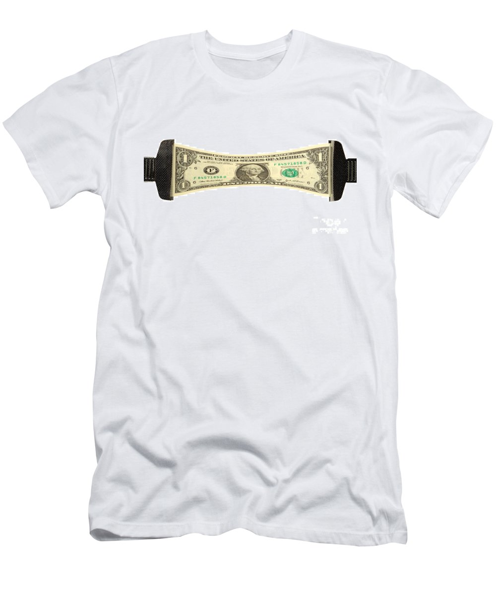 Dollar Men's T-Shirt (Athletic Fit) featuring the photograph Stretching The Dollar by Olivier Le Queinec