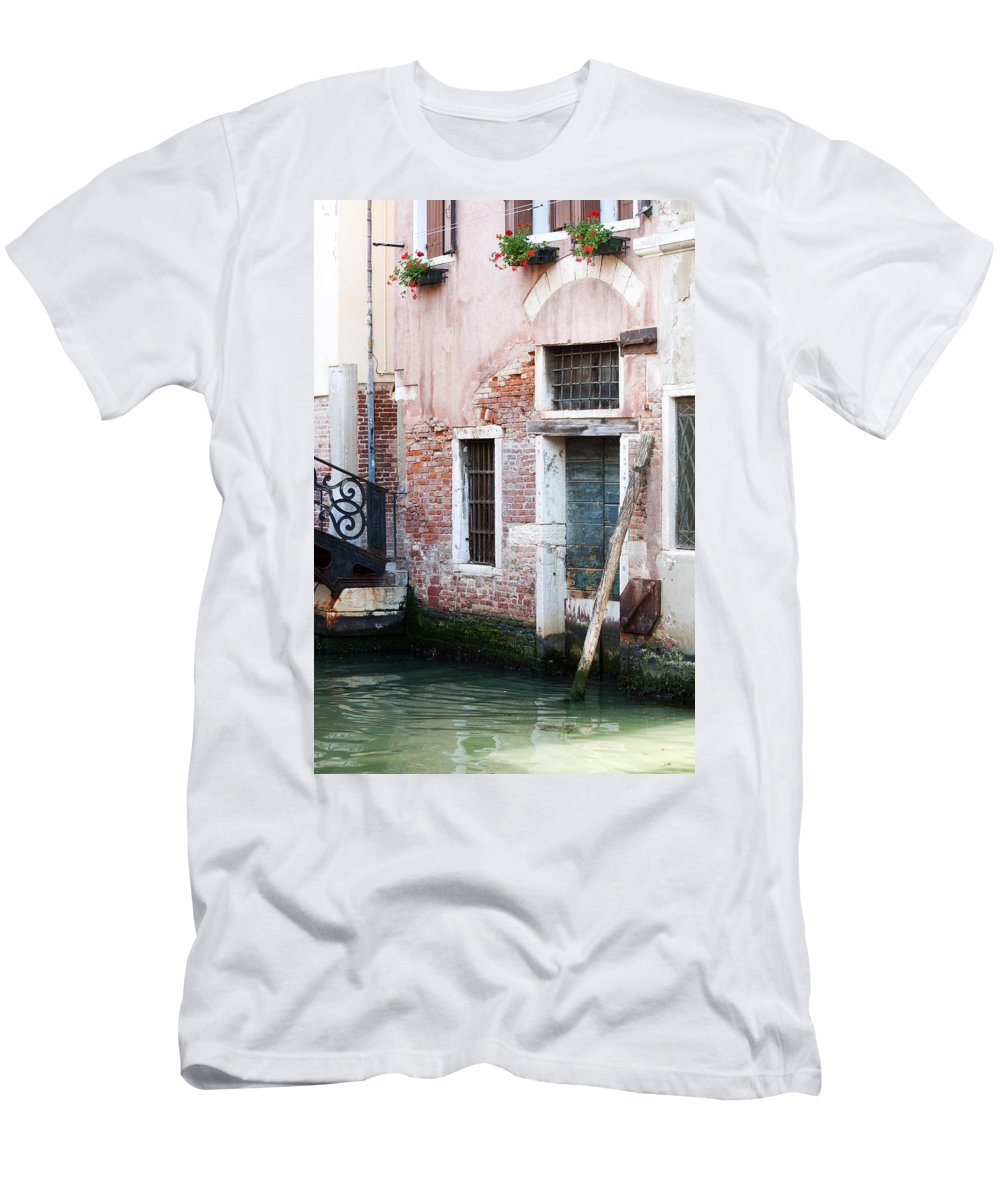Vertical Men's T-Shirt (Athletic Fit) featuring the photograph Stucco And Brick Canalside Building Venice Italy by Sally Rockefeller