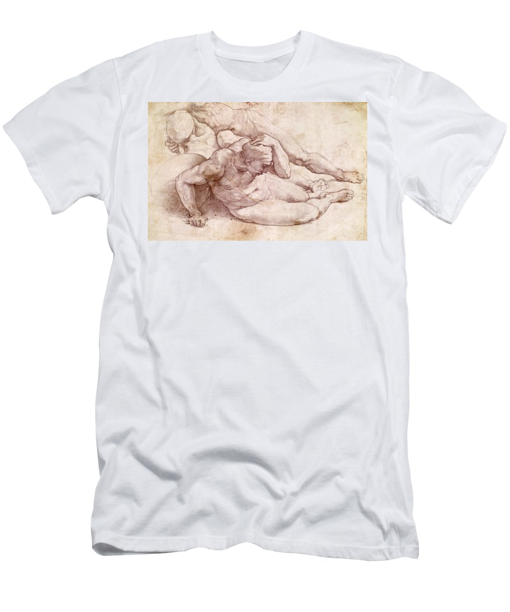 1530s Men's T-Shirt (Athletic Fit) featuring the painting Study Of Three Male Figures by Michelangelo Buonarroti