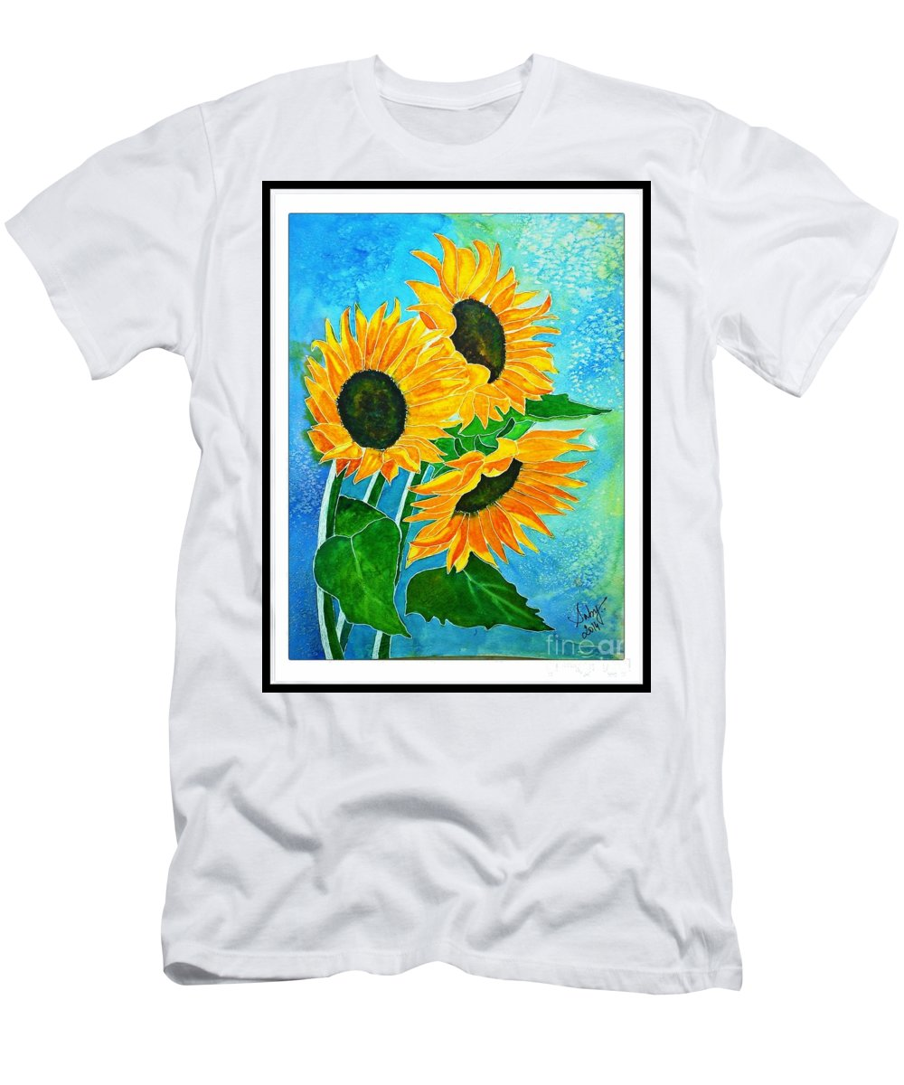 Sunflowers Men's T-Shirt (Athletic Fit) featuring the painting Summer Bloom by Sarabjit Kaur