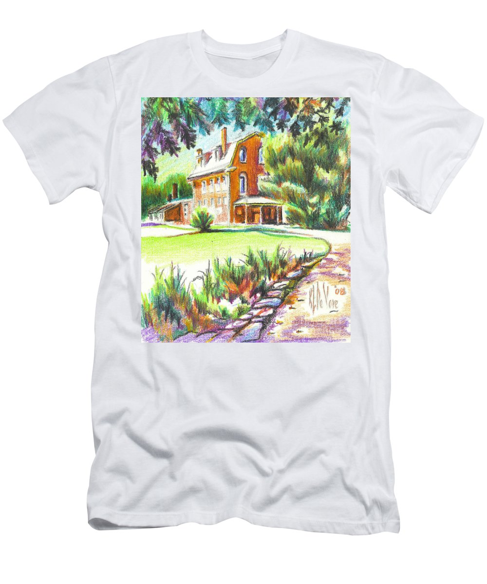 Summertime At Ursuline No C101 Men's T-Shirt (Athletic Fit) featuring the painting Summertime At Ursuline No C101 by Kip DeVore