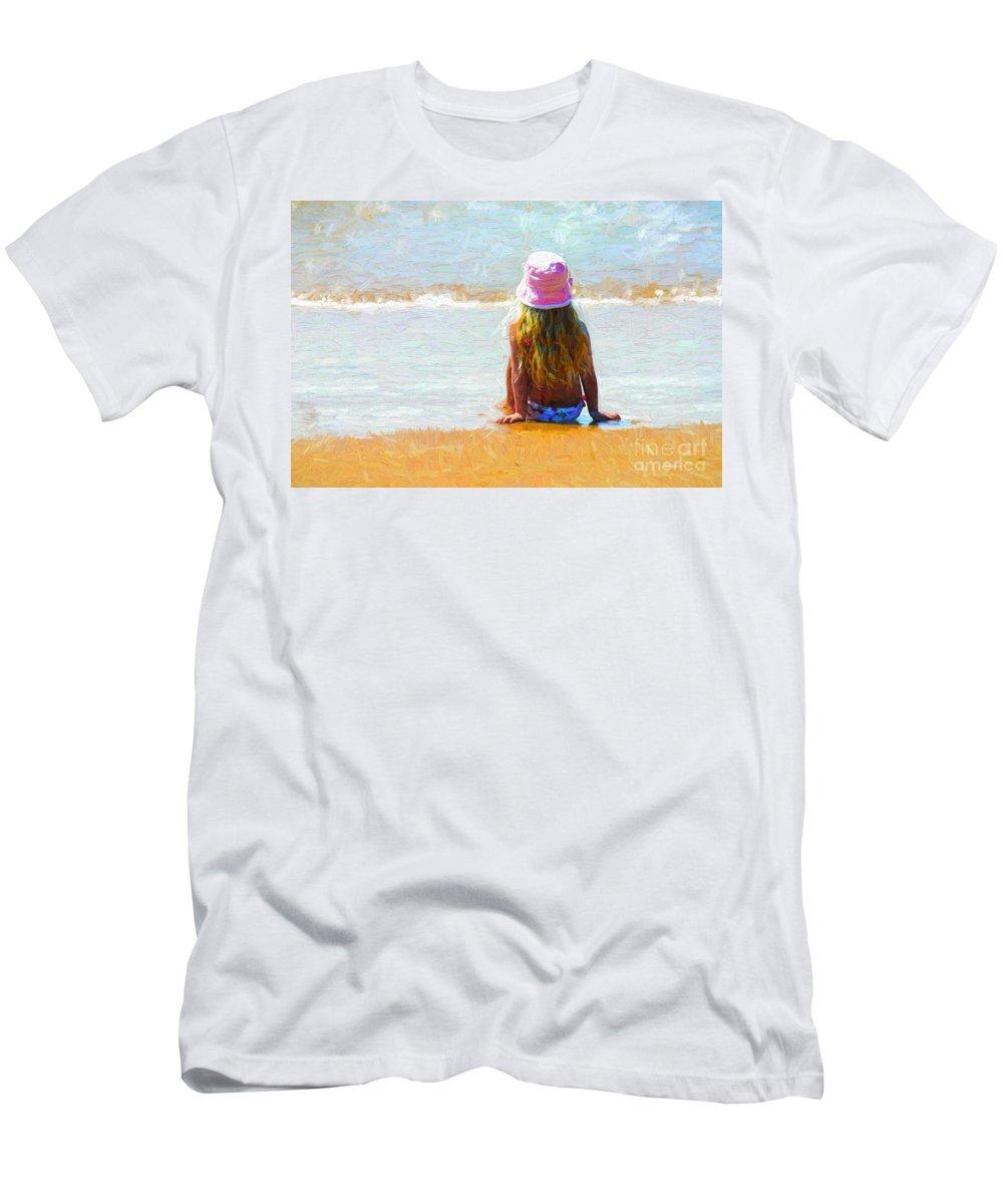 Little Girl On Beach T-Shirt featuring the photograph Summertime by Sheila Smart Fine Art Photography