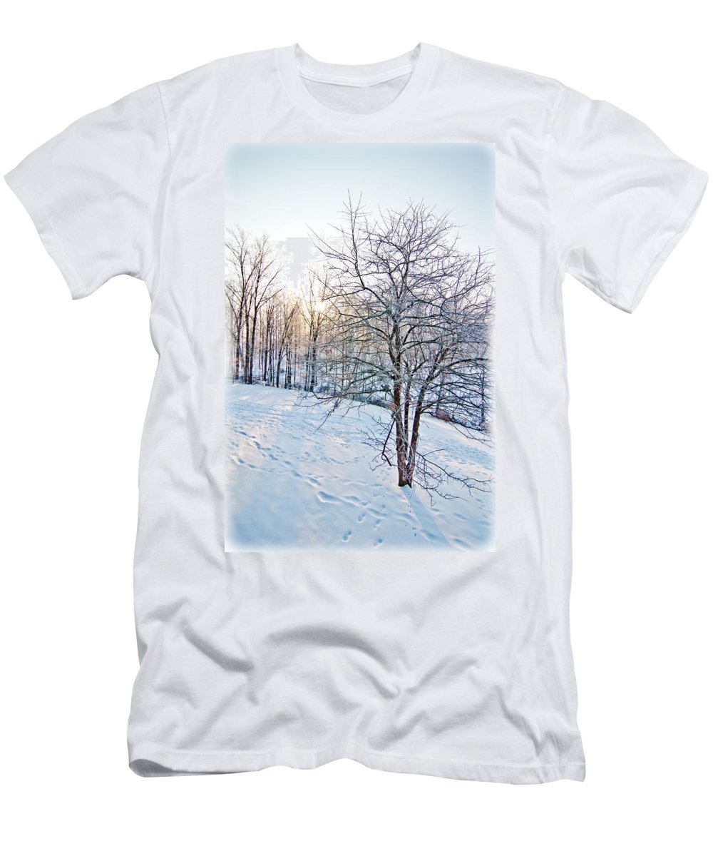 Sun Men's T-Shirt (Athletic Fit) featuring the photograph Sun Over A Snowy Day by Shirley Tinkham