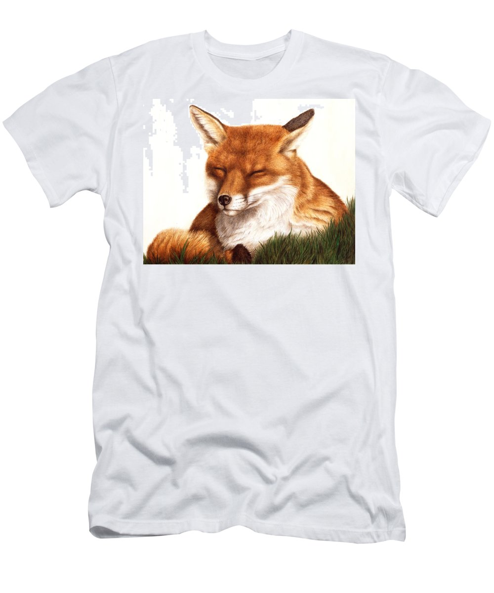 Fox Men's T-Shirt (Athletic Fit) featuring the painting Sunnin' Red Fox by Pat Erickson
