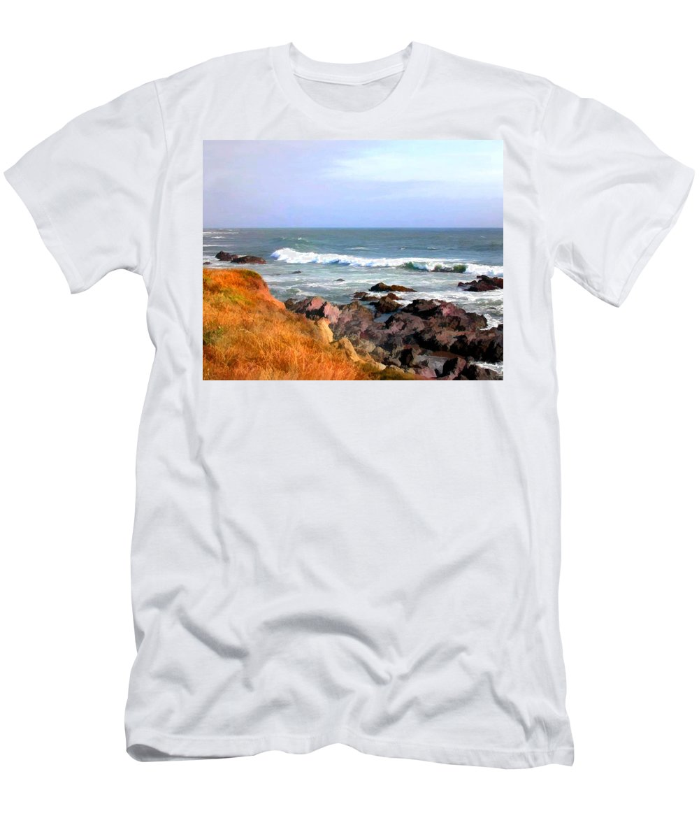 California Men's T-Shirt (Athletic Fit) featuring the painting Sunny Ocean Shoreline by Elaine Plesser