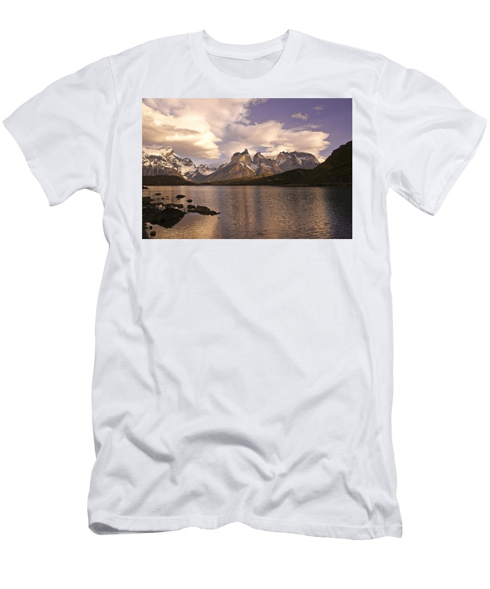 Chile Men's T-Shirt (Athletic Fit) featuring the photograph Sunrise At Lago Pehoe by Michele Burgess