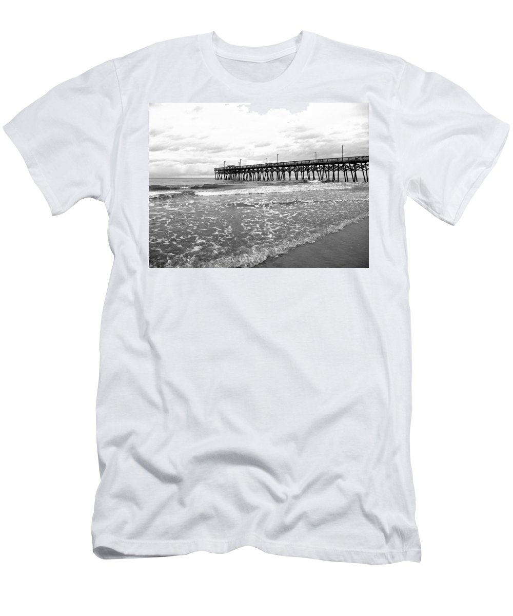 Black And White Men's T-Shirt (Athletic Fit) featuring the photograph Sunrise At Surfside Bw by Barbara McDevitt