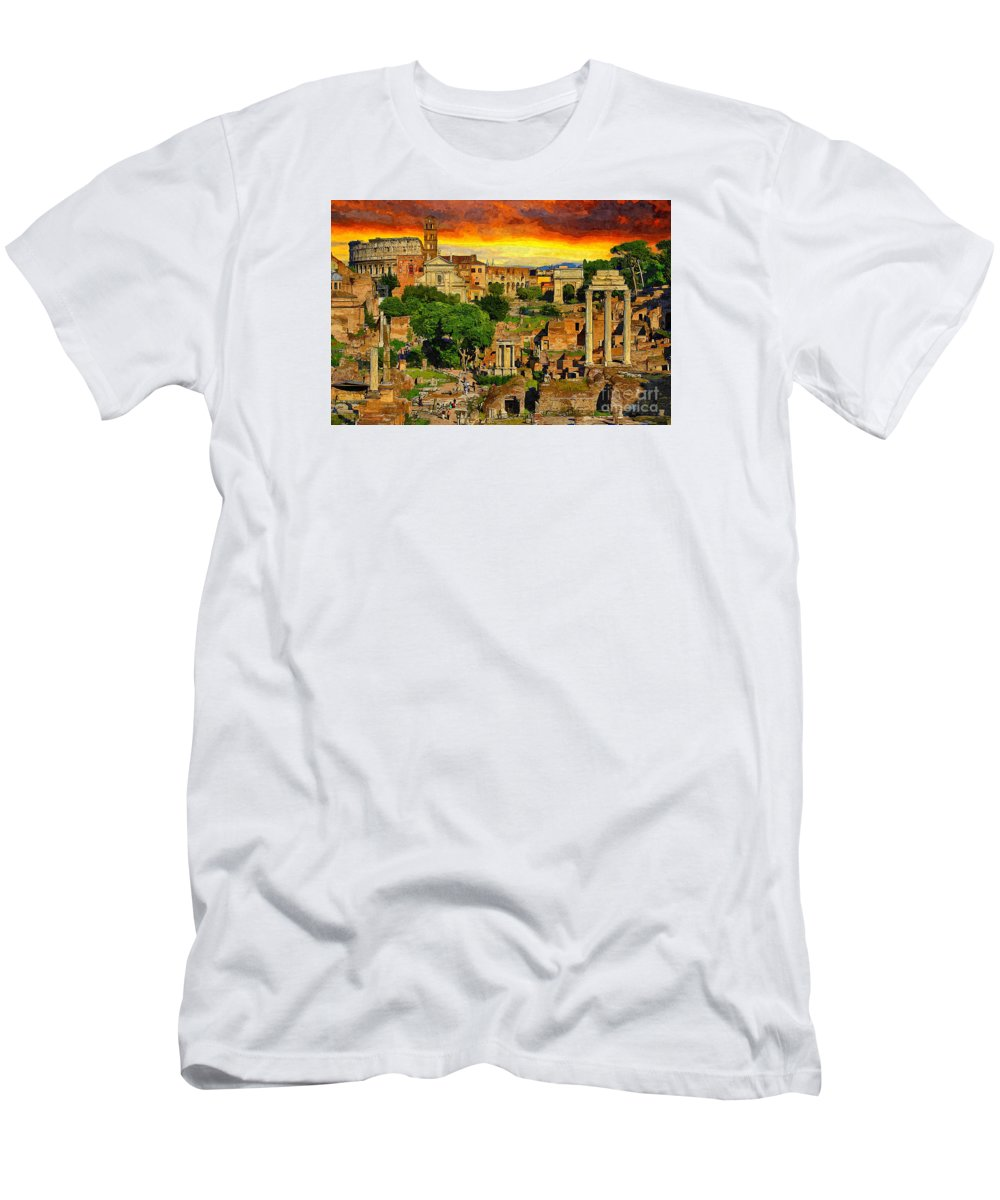 Sunset Men's T-Shirt (Athletic Fit) featuring the painting Sunset In Rome by Stefano Senise
