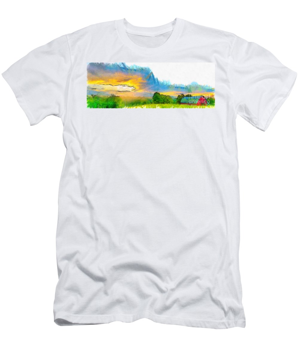 Etna Men's T-Shirt (Athletic Fit) featuring the photograph Sunset On The Farm Pencil by Edward Fielding