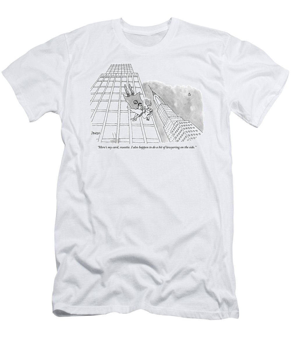 Superhero T-Shirt featuring the drawing Superman Gives His Card To A Woman He Is Saving by Jack Ziegler