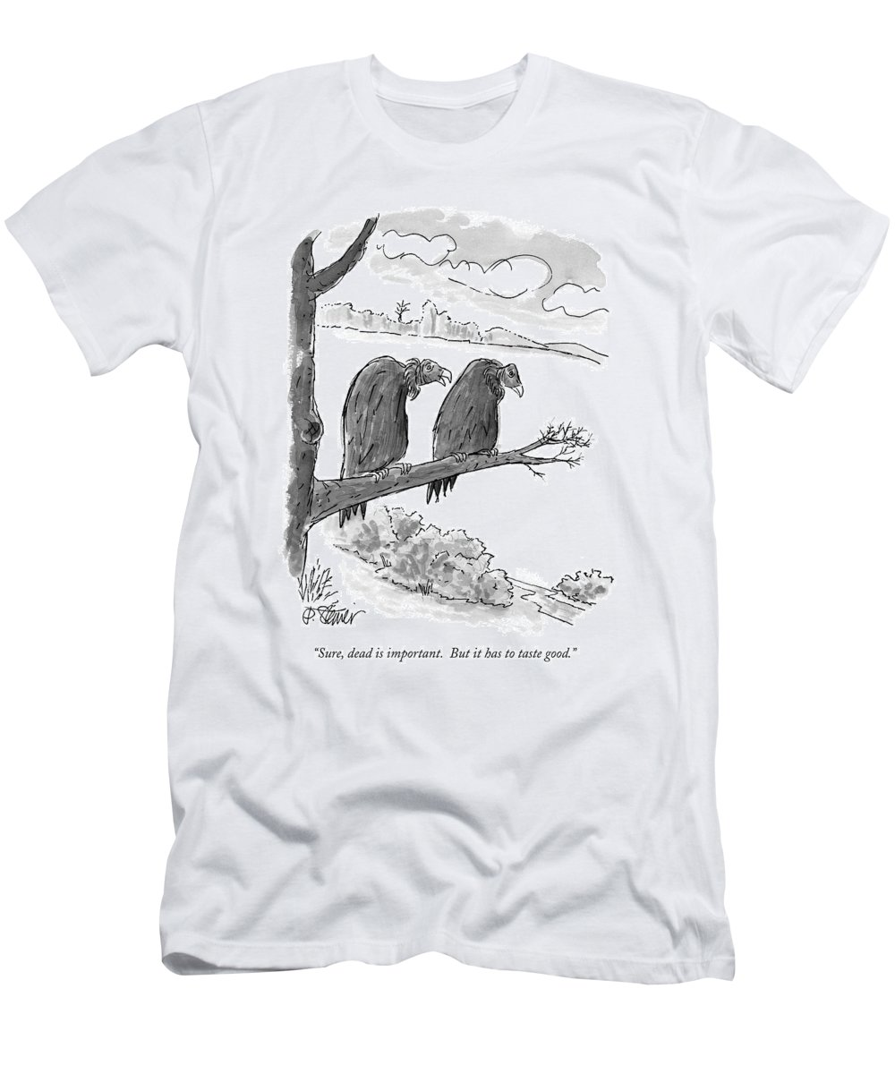 Animals Men's T-Shirt (Athletic Fit) featuring the drawing Sure, Dead Is Important. But It Has To Taste by Peter Steiner