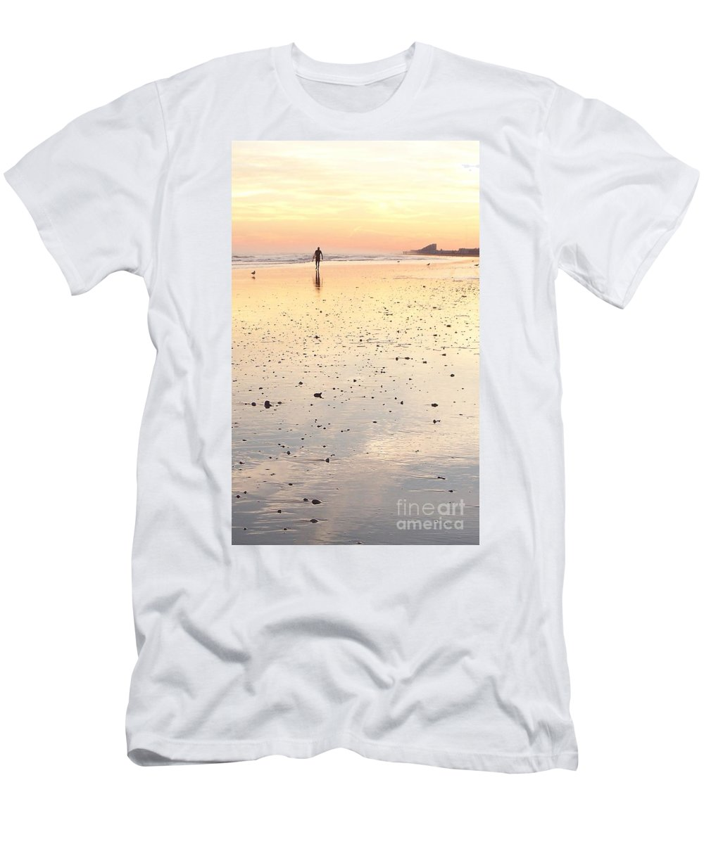 Surfing Men's T-Shirt (Athletic Fit) featuring the photograph Surfing Sunset by Eric Schiabor