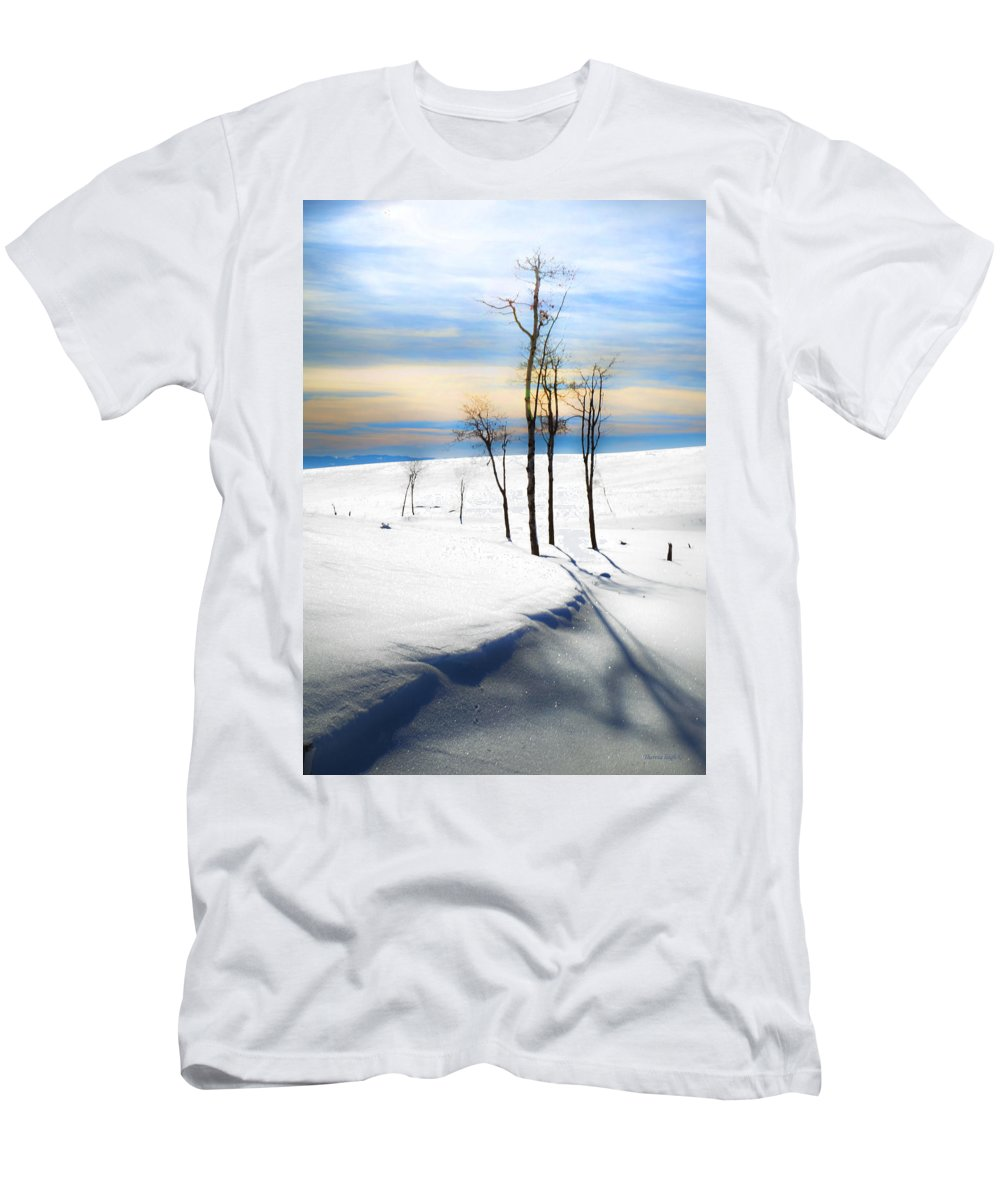 Snowscape Men's T-Shirt (Athletic Fit) featuring the photograph Surreal Snowscape by Theresa Tahara