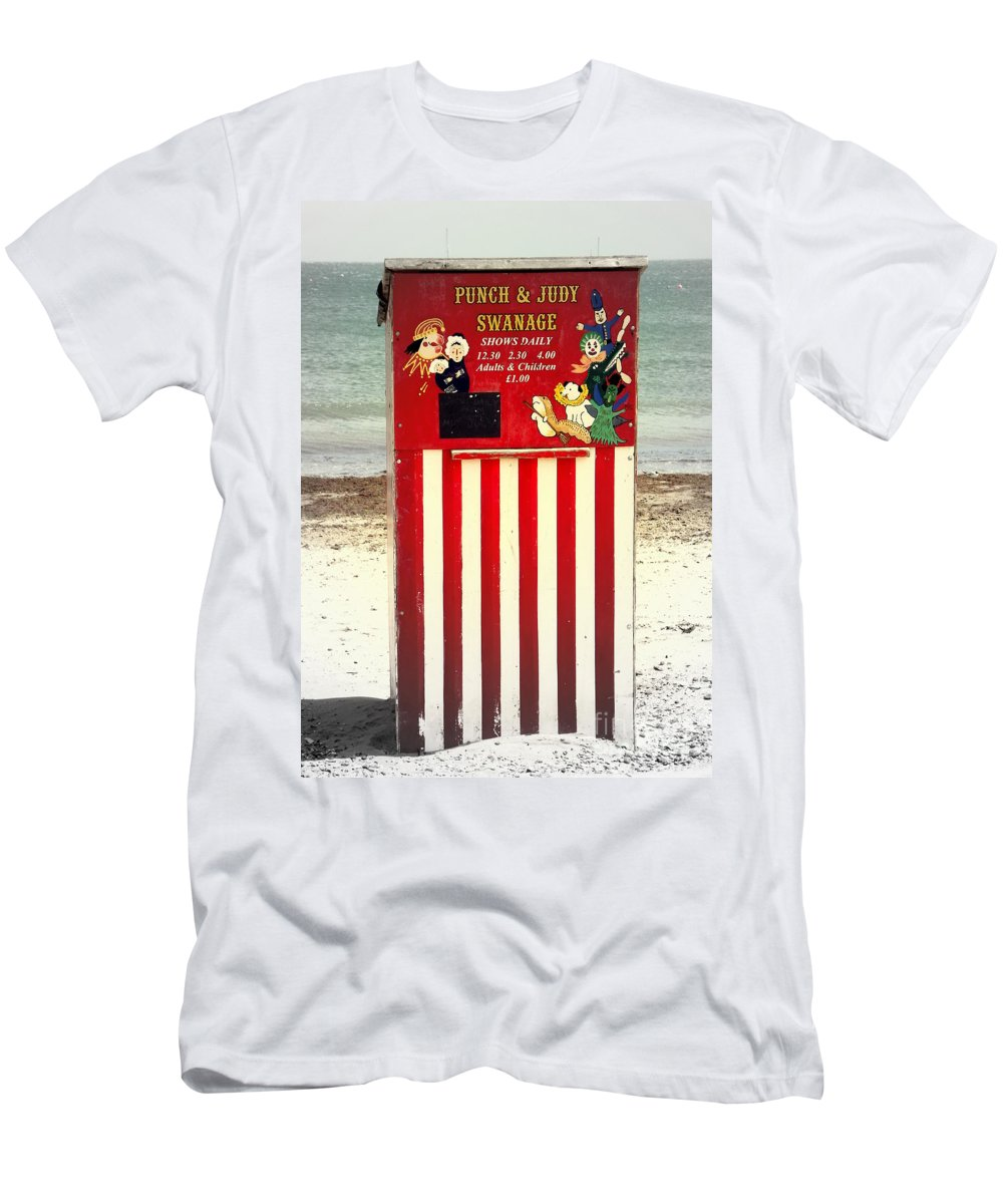 Punch And Judy Men's T-Shirt (Athletic Fit) featuring the photograph Swanage Punch And Judy by Linsey Williams