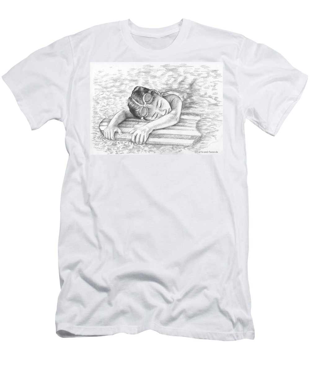 Girl Men's T-Shirt (Athletic Fit) featuring the drawing Swimming Girl by Nicole Zeug