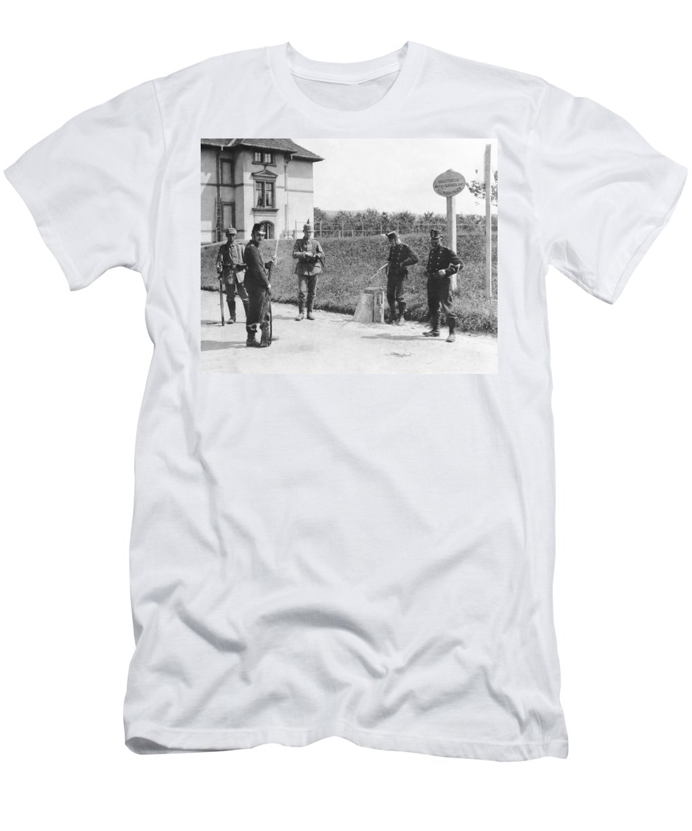 1910s Men's T-Shirt (Athletic Fit) featuring the photograph Swiss And German Border Guards by Underwood Archives
