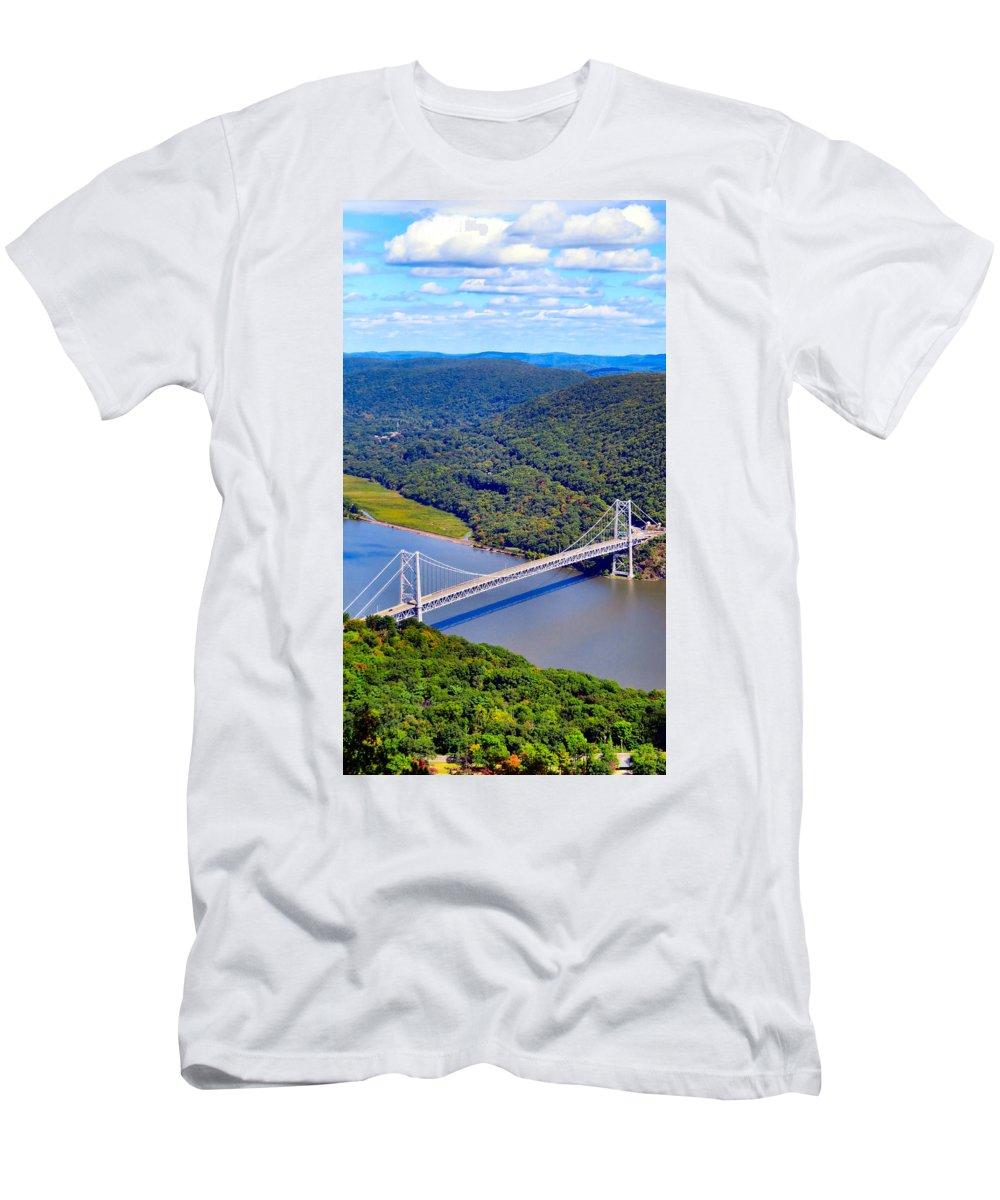 Sky Men's T-Shirt (Athletic Fit) featuring the photograph Bear Mountain Bridge 2 by Art Dingo