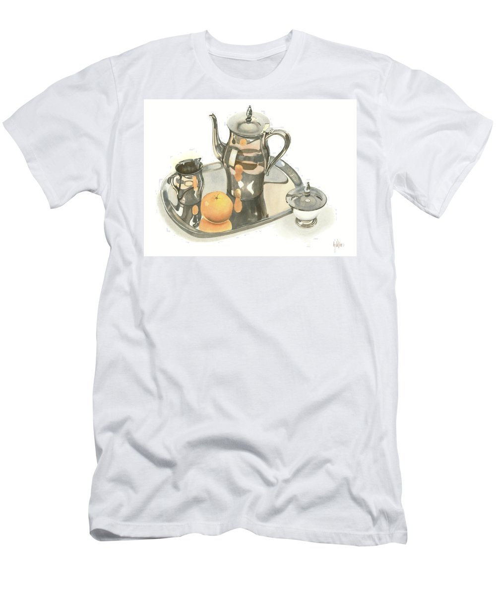 Tea Service With Orange Men's T-Shirt (Athletic Fit) featuring the painting Tea Service With Orange by Kip DeVore