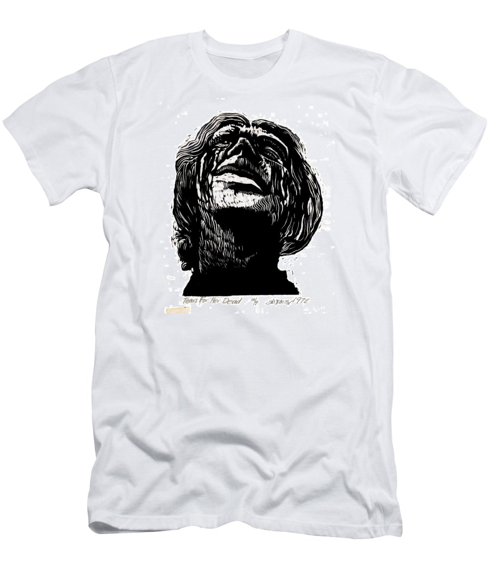 Tears T-Shirt featuring the mixed media Tears for Her Dead by Seth Weaver
