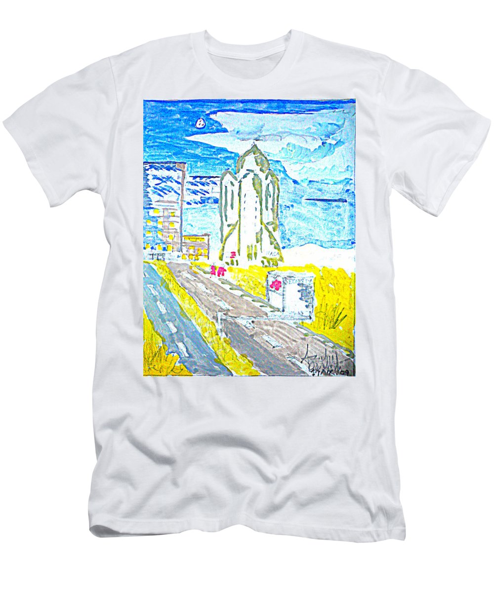Space Center Men's T-Shirt (Athletic Fit) featuring the painting Technology by Ayyappa Das