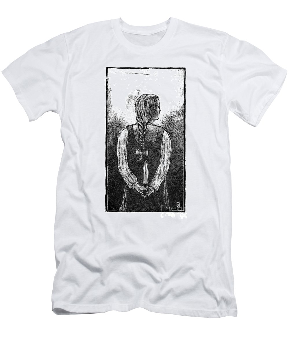 Girl Men's T-Shirt (Athletic Fit) featuring the drawing Teen Violence by Chris Van Es
