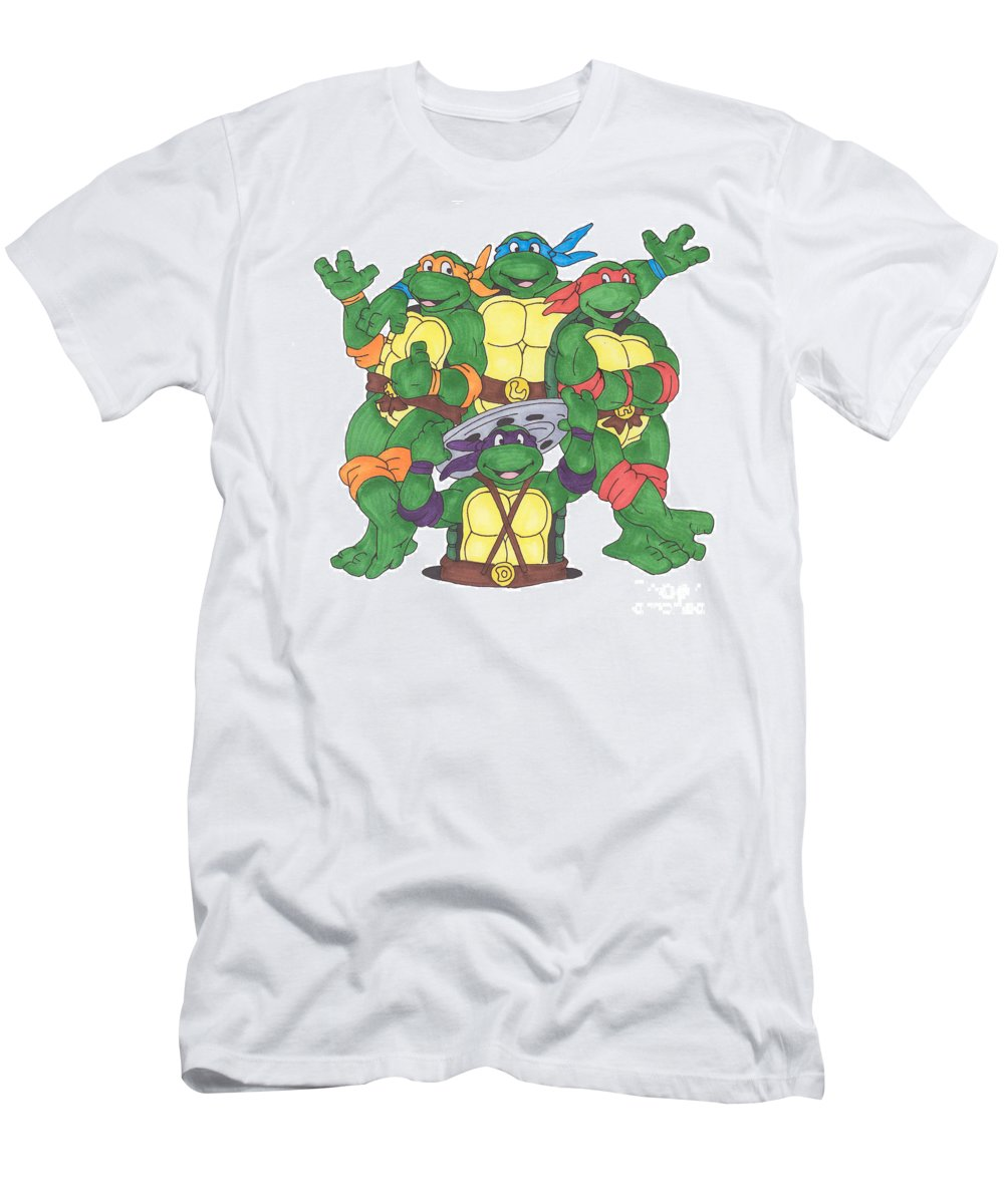 Fanart Men's T-Shirt (Athletic Fit) featuring the painting Teenage Mutant Ninja Turtles by Yael Rosen