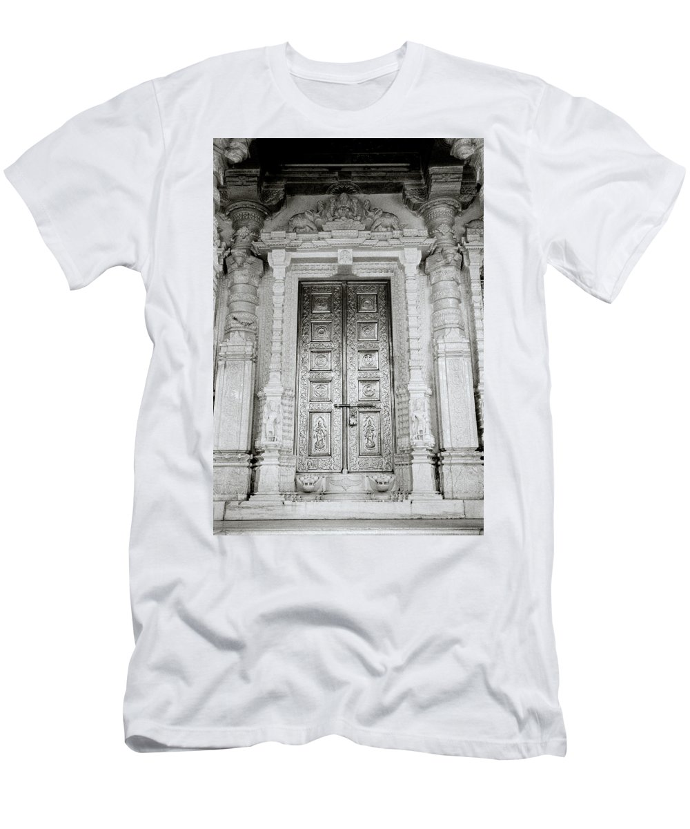 Temple Men's T-Shirt (Athletic Fit) featuring the photograph The Ancient Temple Door by Shaun Higson