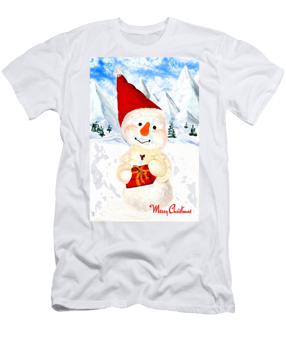 Christmas Men's T-Shirt (Athletic Fit) featuring the painting Tender Snowman by Gina Dsgn