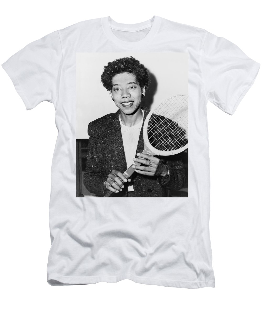 1 Person Men's T-Shirt (Athletic Fit) featuring the photograph Tennis Star Althea Gibson by Fred Palumbo
