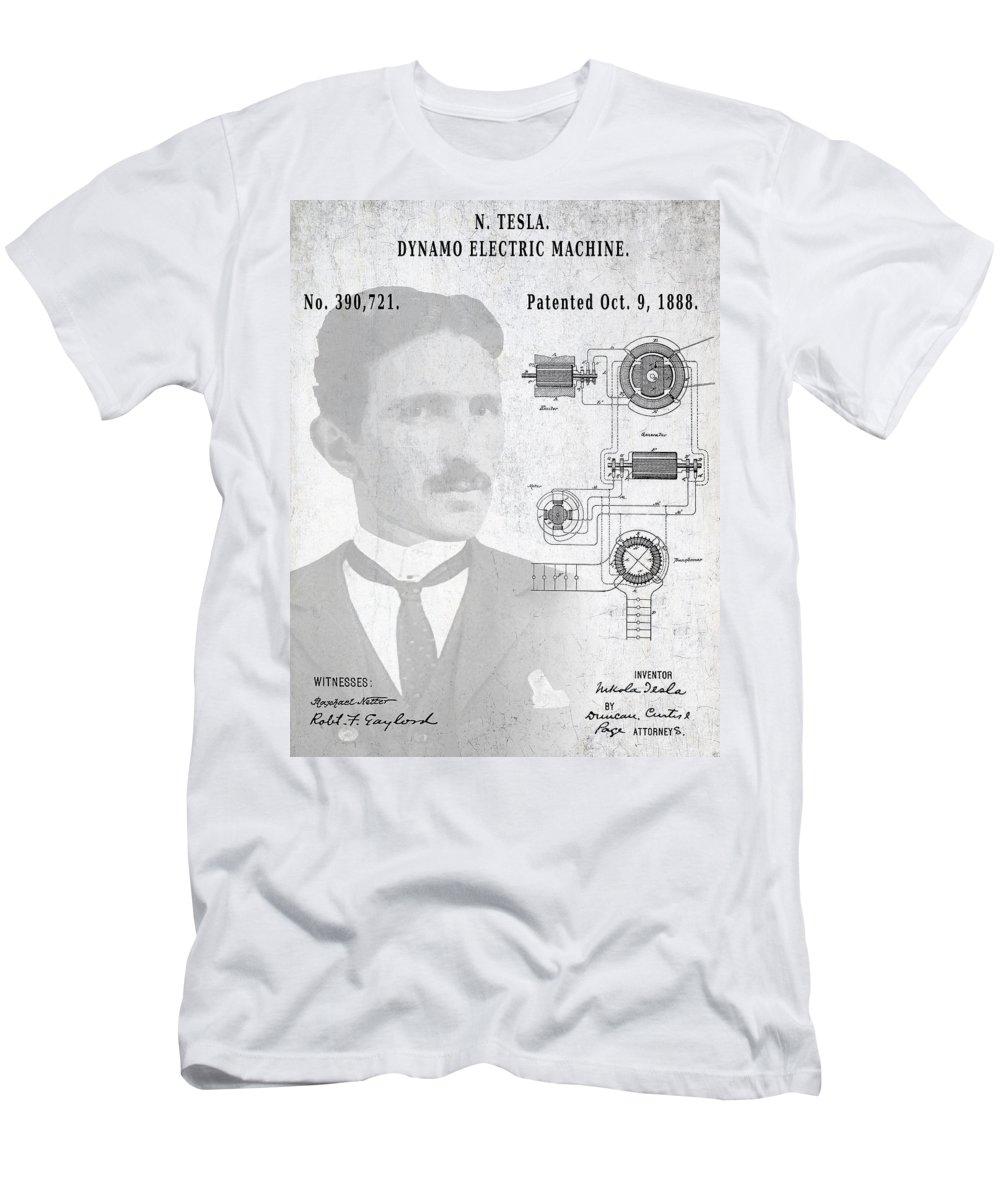 Tesla Men's T-Shirt (Athletic Fit) featuring the digital art Tesla A / C Current Patent Art 1888 by Daniel Hagerman