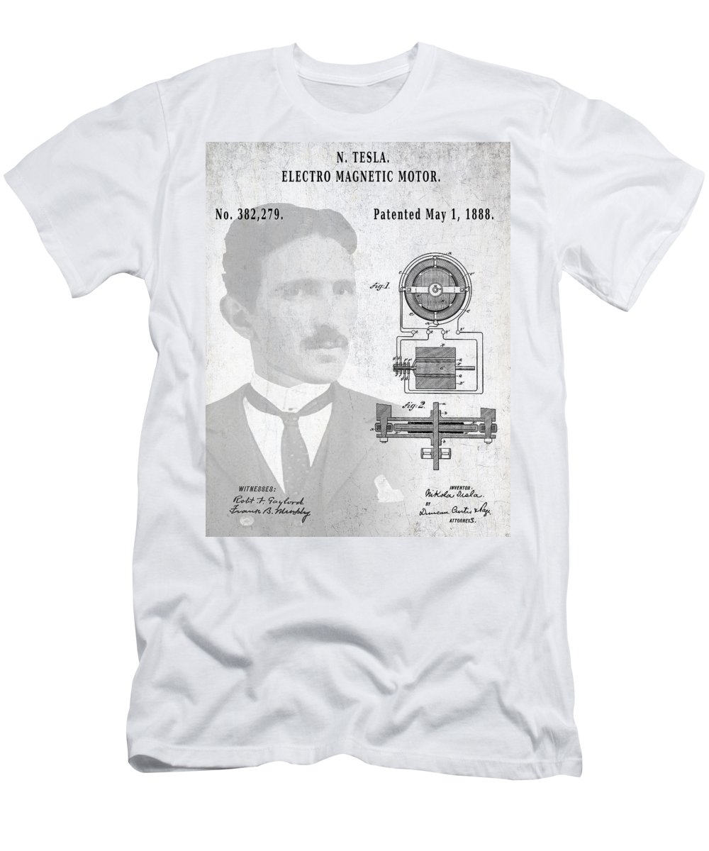 Tesla Men's T-Shirt (Athletic Fit) featuring the digital art Tesla And The Electro Magnetic Motor Patent by Daniel Hagerman