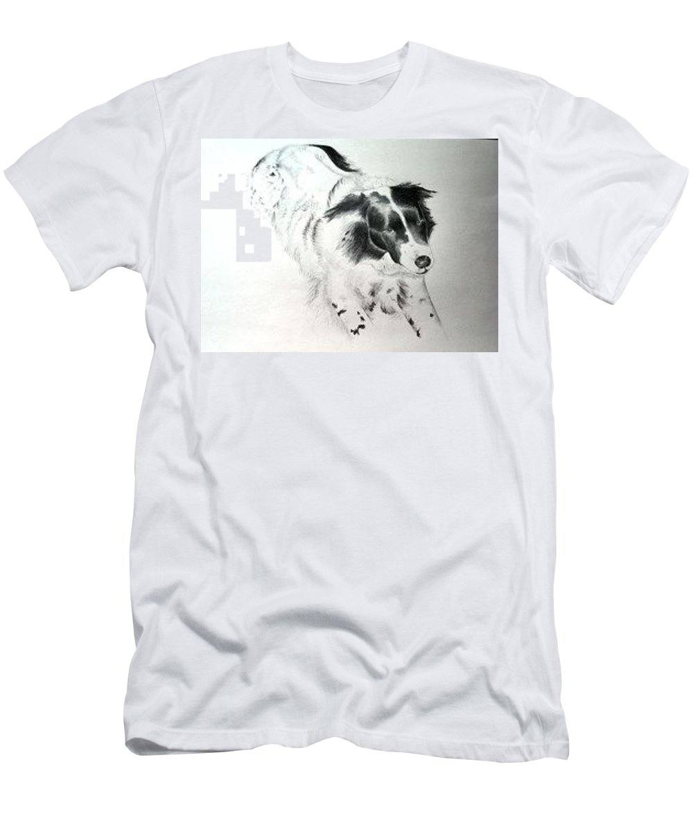 Professional Pet Portrait Artist Men's T-Shirt (Athletic Fit) featuring the drawing Tess by Joette Snyder