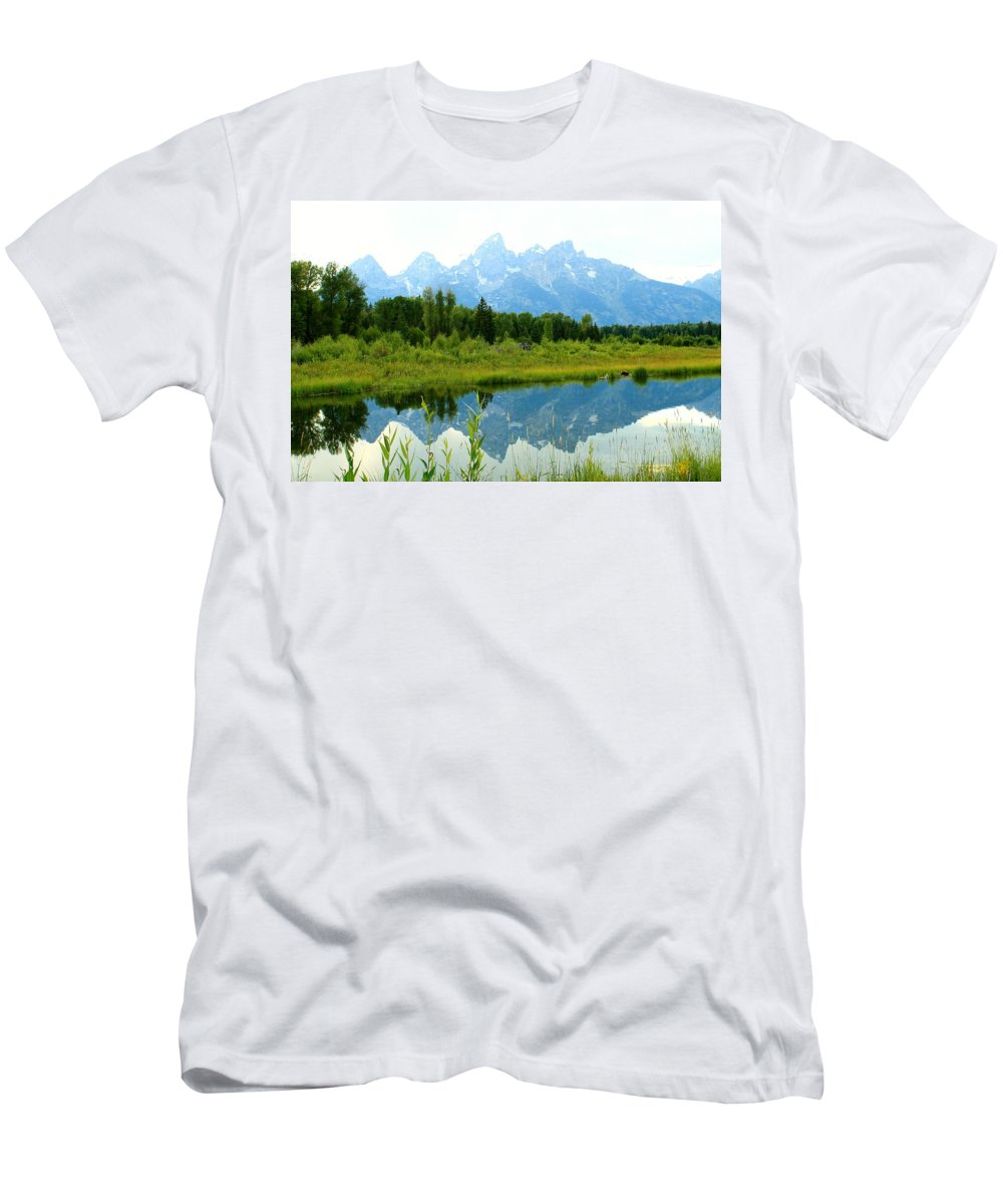 Grand Tetons Men's T-Shirt (Athletic Fit) featuring the photograph Teton Reflections by Catie Canetti